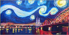 Gallery print  Starry Night in Cologne - Van Gogh inspirations on Rhine with Cathedral and Hohenzollern Bridge - M. Bleichner
