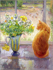 Wall sticker  Cat with flowers in the window - Timothy Easton