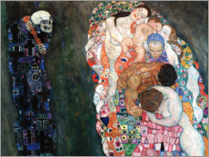 Wood print  Death and life - Gustav Klimt
