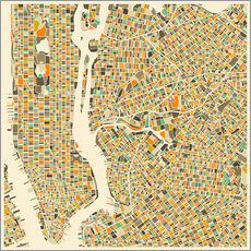Gallery print  New York map colorful - Jazzberry Blue