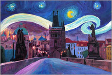 Gallery print  Starry Night in Prague   Van Gogh Inspirations on Charles Bridge in Czech Republic - M. Bleichner