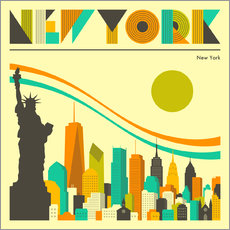 Wall sticker  New York skyline - Jazzberry Blue