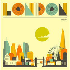 Wall sticker  London skyline - Jazzberry Blue