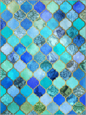 Premium poster  Cobalt blue, gold moroccan tile pattern - Micklyn Le Feuvre