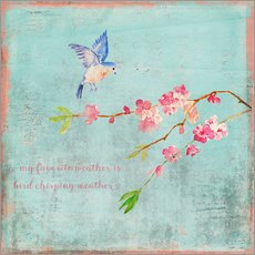 Wall sticker Bird chirping - Spring and cherry blossoms