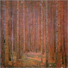 Foam board print  Fir tree forest I - Gustav Klimt