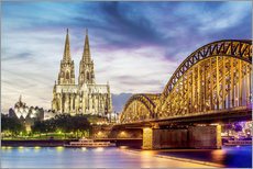 Gallery print  Lighted Cathedral with Rhine and Bridge, Cologne