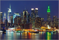 Gallery print  New York City at night over Hudson river