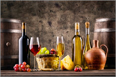 Gallery print  Wine, grapes, barrels and cheese