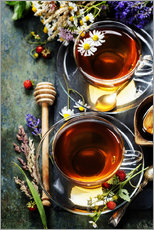 Wall sticker  Herbal tea with honey, berry and flowers