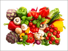 Gallery print  fresh vegetables and herbs on white
