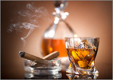 Gallery print  Glass of Whiskey and a Cigar