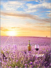 Gallery print  Bottle of wine in a lavender field
