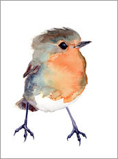 Gallery print  Baby robin in watercolour - Verbrugge Watercolor