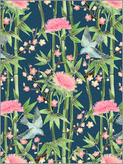 Gallery print  bamboo birds and blossoms on teal - Micklyn Le Feuvre