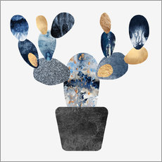 Gallery print  Blue And Gold Cactus - Elisabeth Fredriksson
