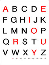 Gallery print  Alphabet in black and red - Finlay and Noa