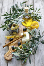Wall sticker  Green and black olives with bottle of olive oil