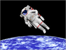 Wall sticker  Astronaut floating in outer space above planet Earth - Elena Duvernay