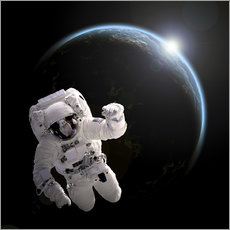 Wall sticker  Astronaut floating in space as the sun rises on to Earth-like planet. - Marc Ward