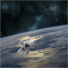 Wall sticker An astronaut floating above Earth.