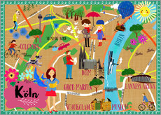 Wall sticker Colorful city map Cologne