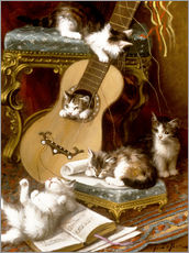 Gallery print  Kittens at play with a guitar - Jules Le Roy