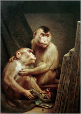 Gallery print  The art critic - two monkeys look at a painting - Gabriel von Max