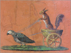 Gallery print  Parrot draws cars with squirrels
