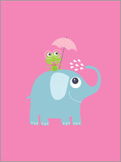Wall sticker  One frog and one elephant pink - Jaysanstudio