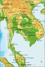 Acrylic print  Map of Thailand