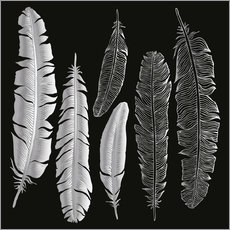 Wall sticker  Feathers in silver
