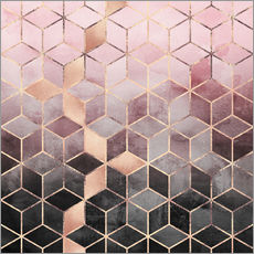 Wall sticker  Pink And Grey Gradient Cubes - Elisabeth Fredriksson