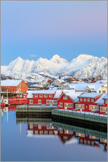 Wall sticker  Pink sunset over the typical red houses reflected in the sea, Svolvaer, Lofoten Islands, Arctic, Nor - Roberto Sysa Moiola