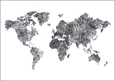 Gallery print  World Map - Dried