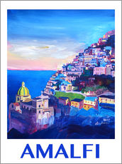 Gallery print  Amazing Amalfi Coast At Sunset IV - Retro Poster Vintage Style - M. Bleichner