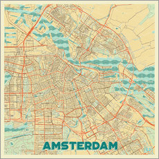 Gallery print  Amsterdam Map Retro - Hubert Roguski