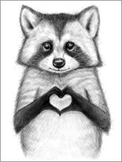 Premium poster  Raccoon with heart - Nikita Korenkov