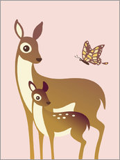 Gallery print  Mom And Baby Deer With Butterfly - Ashley Verkamp