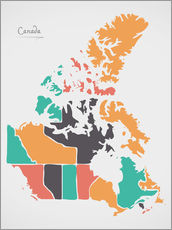 Wall sticker  Canada map modern abstract with round shapes - Ingo Menhard