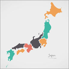 Gallery print  Japan map modern abstract with round shapes - Ingo Menhard