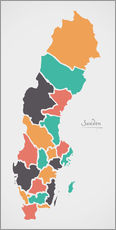Gallery print  Sweden map modern abstract with round shapes - Ingo Menhard