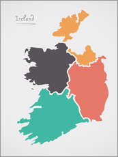 Wall sticker  Ireland map modern abstract with round shapes - Ingo Menhard