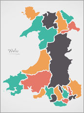 Gallery print  Wales map modern abstract with round shapes - Ingo Menhard