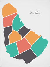 Gallery print  Barbados map modern abstract with round shapes - Ingo Menhard