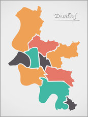 Wall sticker  Dusseldorf city map modern abstract with round shapes - Ingo Menhard