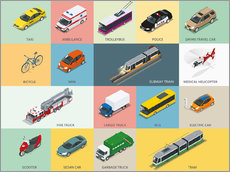 Wall sticker Colorful vehicles