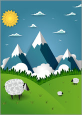 Wall sticker  Paper landscape with sheep - Kidz Collection