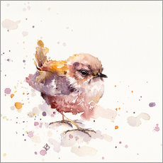 Wall sticker  Fluffy Le Wren (cute bird) - Sillier Than Sally