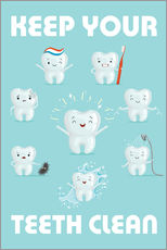 Wall sticker  Keep your teeth clean - Kidz Collection